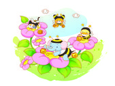 Animals playing in the flower — Stock Vector