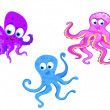 Kinds of octopus cartoon — Stock Vector