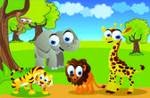 Safari animals in the zoo — Vector de stock