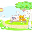 Cute cartoon cat and squirrel are sitting in the garden — ストックベクタ #41257161