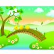 Chicks cartoon with beautiful landscape in the river — Stock Vector #41258067