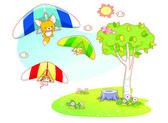 Funny animals cartoon playing parachuting — Stock Vector
