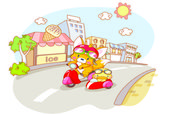 Cute animals were riding motorcycles and city background — 图库矢量图片