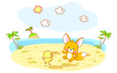 Funny squirrel and chick cartoon with beach background — Stock Vector