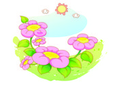Beautiful landscape flowers — Stock Vector