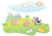 Farm animal with a beautiful background scenery — Vector de stock