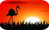 Storch mit sonnenuntergang — Stockvektor