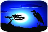 Stork with sunrise — Stock Vector