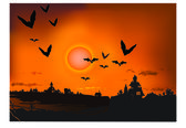 Sunset with silhouette bat — Stock Vector
