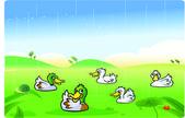 Ducks playing in the rain — Stock Vector