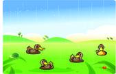 Roliga ankor cartoon spela i regnet — Stockvektor