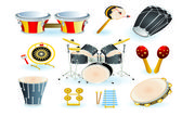 Set of percussion instruments — Stock Vector