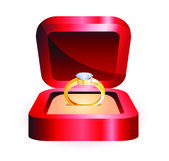 Gold ring in a red box — Stock Vector