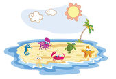 Set of sea animal with beach background — Stock Vector