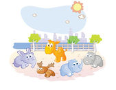 Young animals cartoon at the park — Stock Vector