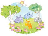 Young animals cartoon at the flower garden — Stock Vector