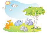 Young animals cartoon with garden background — Stock Vector
