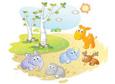 Young animals cartoon posing in the street garden — Stock Vector