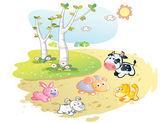 Farm animals cartoon posing in the street garden — Stock Vector