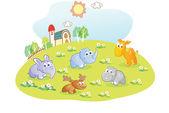 Young animals cartoon in the home garden — Stock Vector