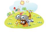 Cartoon animals posing in the home garden — ストックベクタ