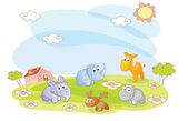 Young animals in the summer — Stock Vector