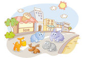 Young animals on city streets — Stock Vector