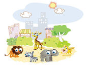 Cartoon animals playing in the park city — Stock Vector