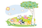 Farm animals playing in the garden — Stock Vector