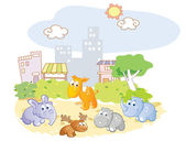 Young animals playing in the park city — Stock Vector