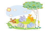Young animals playing in the garden — Stock Vector