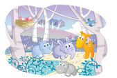 Cartoon young animals playing in a beautiful garden — Stock Vector