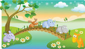 Young animals playing with beautiful scenery — Stock Vector