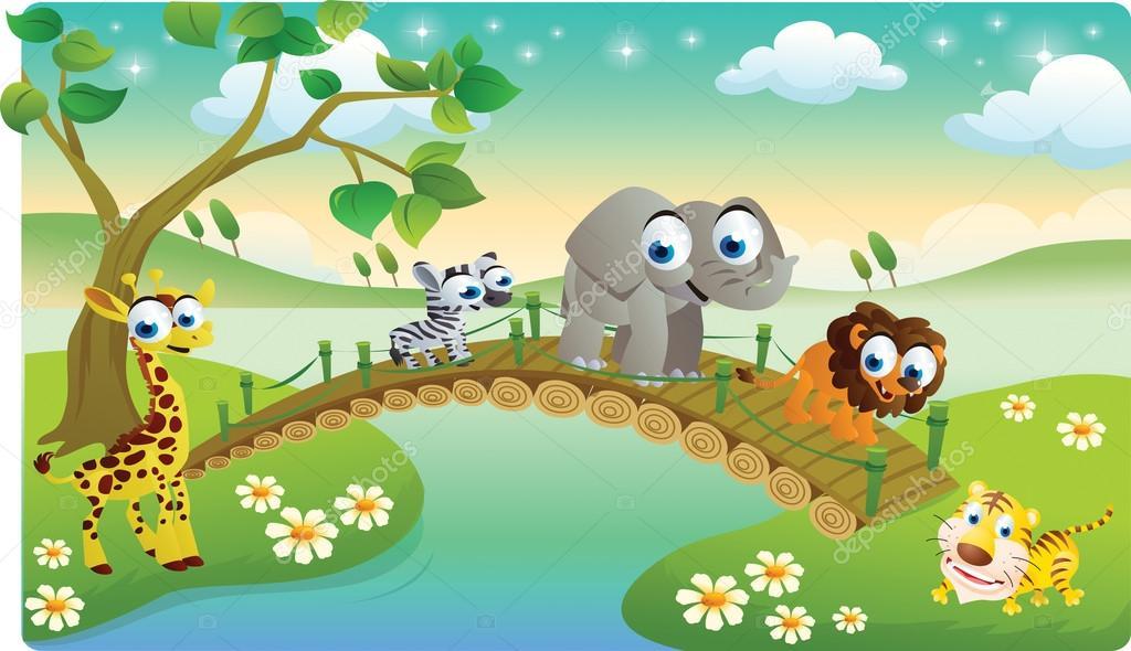 卡通动物和美丽的风景一起玩