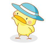 Cute cartoon chicks posing with hat — Stockvector