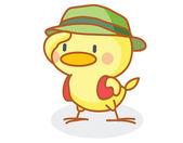 Cute cartoon chick wearing a hat — Stockvector