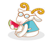 Cartoon goat eating watermelon — Stock Vector
