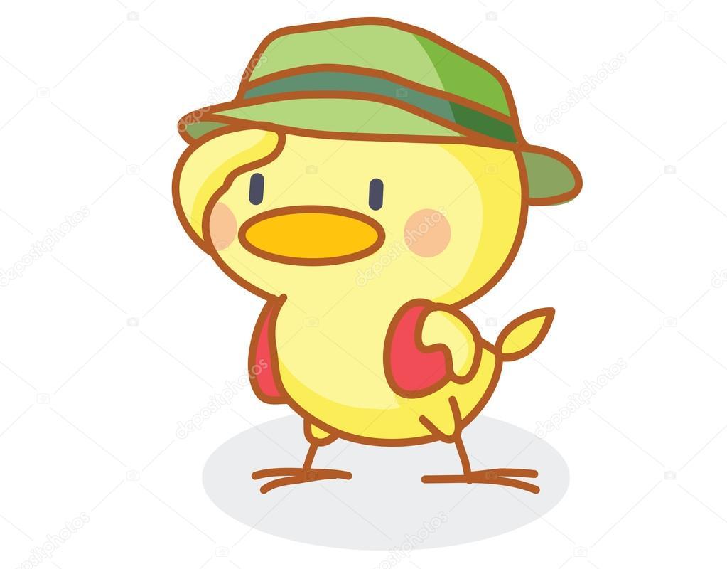 Pulcino simpatico cartone animato che indossa un cappello
