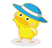 Poussins de dessin animé mignon posant avec chapeau — Vecteur