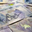 Stock Photo: Background. Commemorative banknotes100 rubles to Olympic games in Sochi
