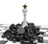 White King on defeated enemies — Stock Photo