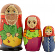 Nested dolls grandfather, grandmother and granddaughter — Stock Photo