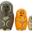 Nesting dolls. The wolf, fox and hare — Stock Photo