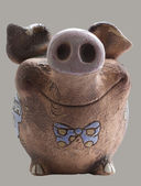 Funny clay piggy bank  Front view — Stock Photo