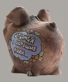 Moneybox in form a pig  Rear view — Stock Photo