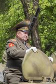 The colonel Valery Gusoyev on parade in honor of the 69th annive — Stockfoto