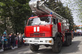 Fire Truck of Fire Department in Kislovodsk in the convoy at the — Stock Photo