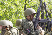 PYATIGORSK, RUSSIA - MAY 9 2014: Victory Day in WWII. Young gunn — Stock Photo