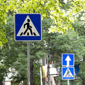 Signs Crosswalk and One-way street outdoors on a clear sunny day — Стоковое фото