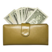 Yellow leather wallet with dollar bills fanned disclosed — ストック写真